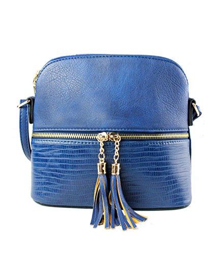 Zip Snakeskin Leather Crossbody Trendy Sling Mini Foxlady Navy Handbag Faux Women's Tassel z0UXntx