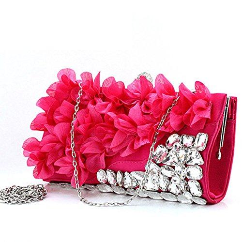 Sra. Flores bolsas/bolsos de noche de la mano/paquete de novia/casado paquete/bolso de vestido de diamantes de imitación-B D