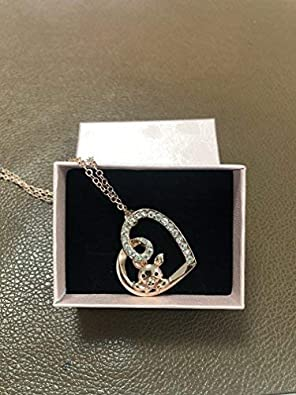 TUSHUO Delicate Cute Hollow Heart Lovely Pig Pendant Necklace Piggy Crystal Jewelry for Women Girls Birthday