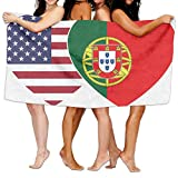Unisex Portugal USA Flag Twin Heart Over-Sized Cotton Bath Beach Travel Towels 31x51 Inch