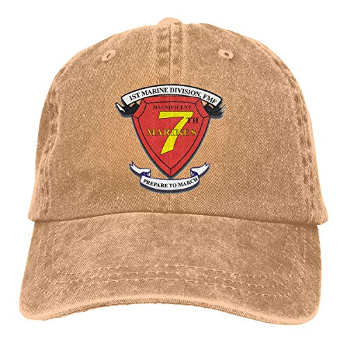 (SLISL EIEI 1st Marine Division 7th Marine Regiment Adjustable Baseball Caps Denim Hats Cowboy Sport Outdoor)