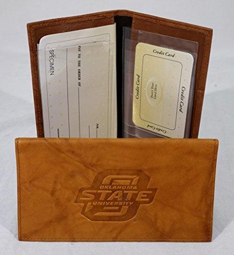 Oklahoma State Embossed Leather Checkbook Cover (Manmade Interior) (Oklahoma State Brown Leather)