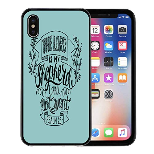 Semtomn Phone Case for Apple iPhone Xs case,Believe Hand Lettering The Lord is My Shepherd I Shall Not Want Psalm Biblical Christian Bell for iPhone X Case,Rubber Border Protective Case,Black