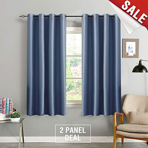 Blackout Curtains for Bedroom Faux Silk 63 inches Slate Blue