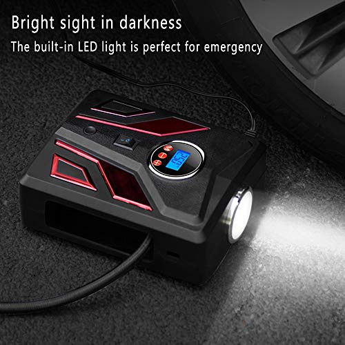 Luoges Portable Air Compressor | Digital Tire Inflator for Car Tires|12V DC Air Compressor Tire inflator Pump|150 PSI with Emergency LED Flashlight for Car, Motorcycles, Bicycles,Inflatables (Red)