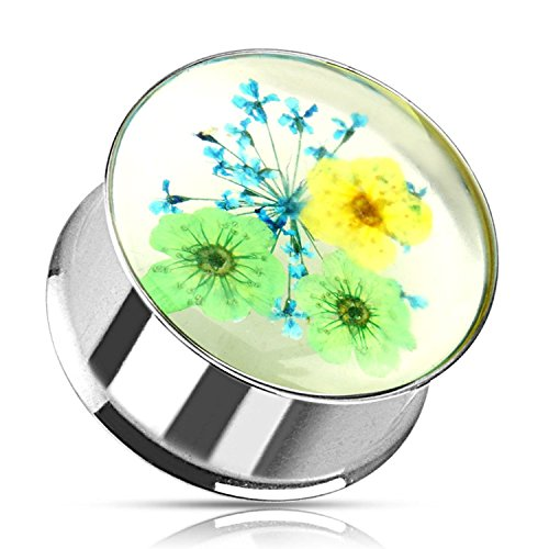 Covet Jewelry Green Blue Dried Flower Incased Clear Acrylic Double Flared 316L Stainless Steel Plug (9/16