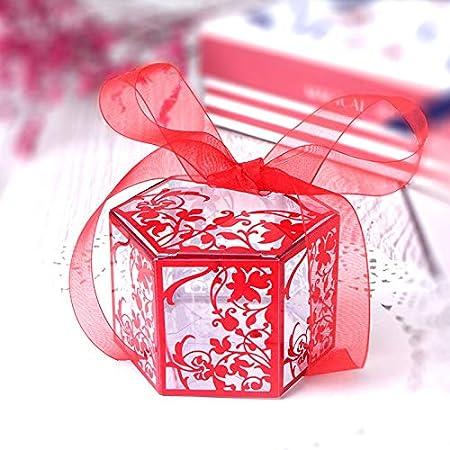 Caja De Regalo Del Partido Del Bautizo Del Bebé De La Caja Hexagonal Transparente Roja Del Caramelo Caja De Regalo 6.8 * 6.8 * 5Cm * 10Pcs (Con La Cinta): Amazon.es: Hogar
