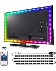 LED Strip Lights Kit Music Sync, Remote Control 16.4ft Waterproof RGB Tape Lights 12V, Color Changing by Sync to Music