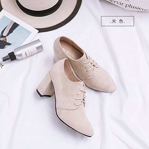Jqdyl Tacones Early Spring High Heels Mujer gruesa con zapatos individuales con punta de color negro profundo Wild Women's Shoes Beige