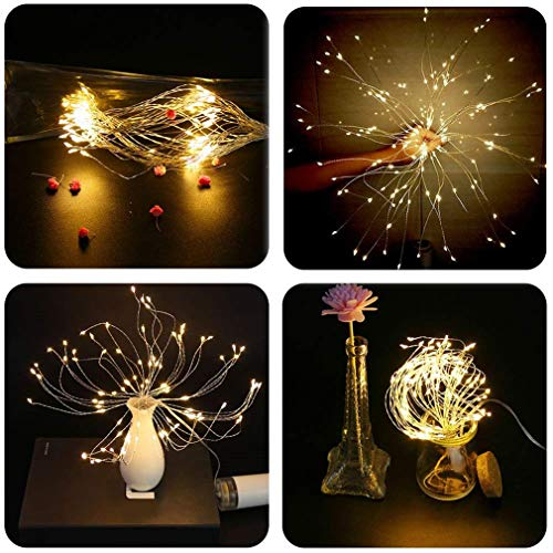 PXB 2 Pack Starburst Sphere Lights,200 Led Firework Lights, 8 Modes Dimmable Remote Control Waterproof Hanging Fairy Light, Copper Wire Lights for Patio Parties Christmas Decoration (Warm White) by PXB (Image #5)