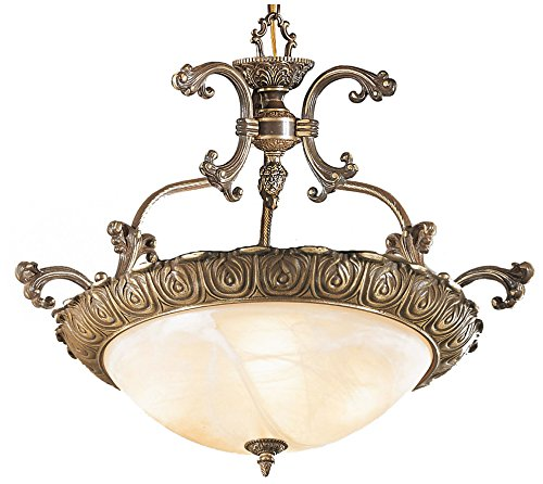 Classic Lighting 68523 RB Montego Bay, Cast Brass and Glass, Light Pendant, 32