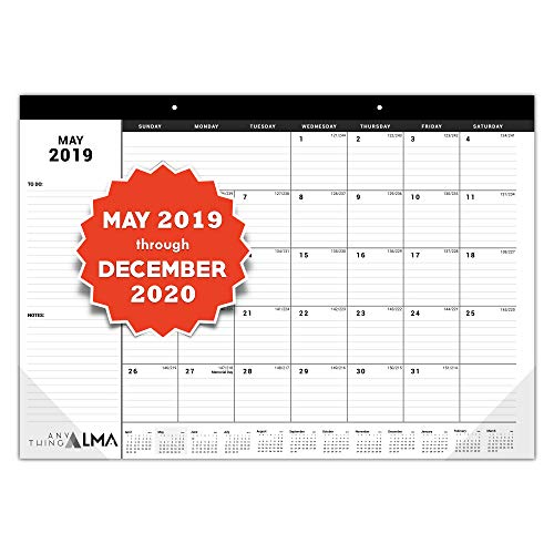 (Anything Alma 2019-2020 Desk Calendar: Monthly Pages - 16-3/4 x 11-4/5 inches | May 2019 to December 2020 | 20 Months | Desk Pad or Wall Calendar)