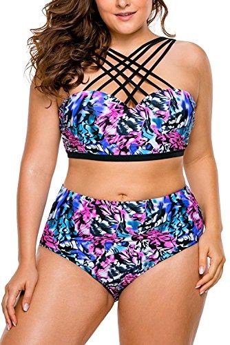88cdd112a540a Mayier Women's Plus Size Strappy High Waist Bikini Two Piece Swimsuit  Tankini,XXX-Large,Floral