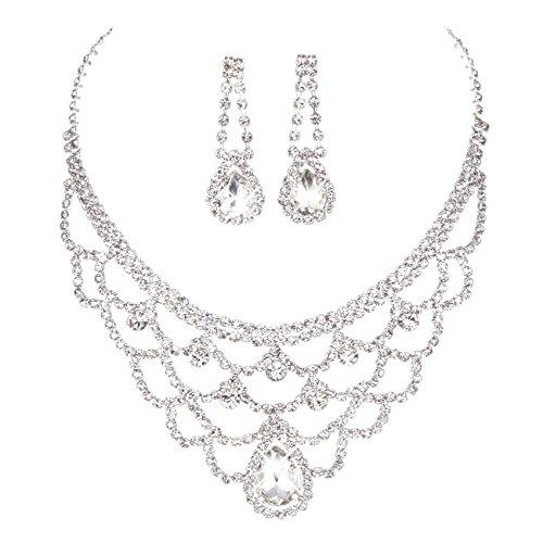 FAYBOX Sparkly Rhinestone Beaded Choker Necklace Earrings Wedding Jewelry (Rhinestone Wedding Jewelry)