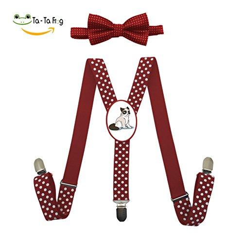 Halloween Costume Ideas Grumpy Cat (Kids Suspender Grumpy Cat Solid Y-back Adjustable Suspender With Bow Tie For Unisex)
