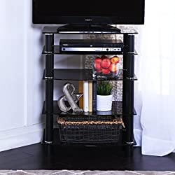 "Walker Edison 35"" Glass Media Storage Tower, Black"