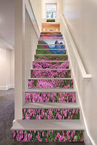 anselc05ls Nature 3D Stair Riser Stickers Removable Wall Murals Stickers,Colorful Field of Blossom in The Morning Grand Dramatic Mountains Canyon Art,for Home Decor 39.3