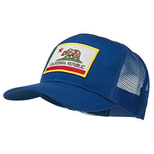 State Hat Cap (California State Flag Patched Twill Mesh Cap - Royal OSFM)