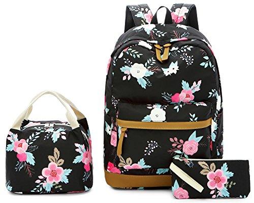 ags School Backpack Laptop Schoolbag for Teens Girls High School (Black floral-0023) ()