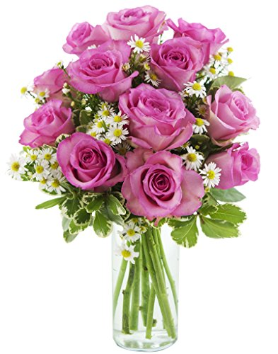 5 Dozen Roses (KaBloom Pink Cotton Roses Bouquet of a Dozen Pink Roses, 5 White Aster and Lush Greens with Vase)