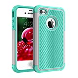 iPhone 4 Case, iPhone 4S Case, CHTech Fashion Shockproof Durable Hybrid Dual Layer Armor Defender Protective Case Cover for Apple iPhone 4S/4 (Light blue Gray)