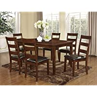 Roundhill Furniture Amery 7 Piece Dining Set, Dark Cherry
