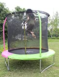 KLB Sport 8-Feet Round Trampoline with Safety Enclosure for Age 6+