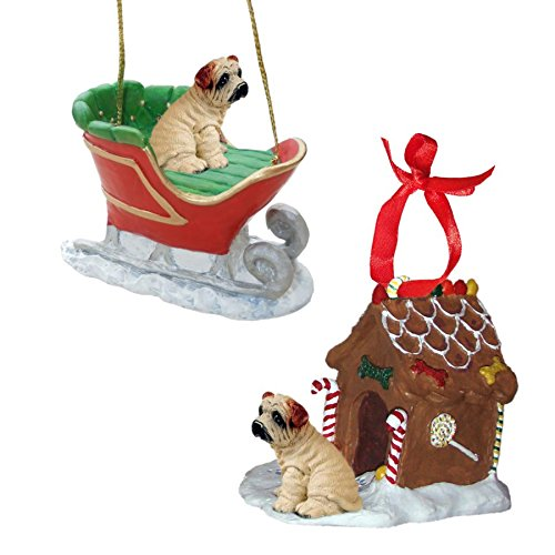 (Cream Shar Pei Figurine Christmas Ornaments)