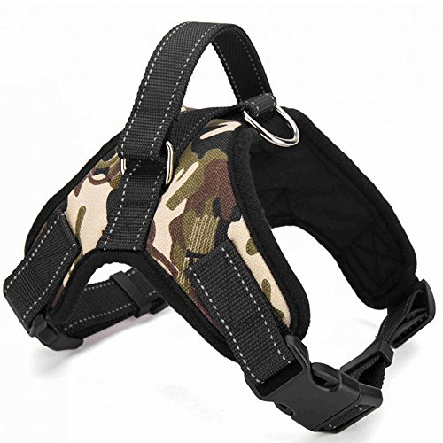 Santune Dog Harness Adjustable Vest Heavy Duty Reflective Pet Harnesses No Pull with Handle for Large Dogs Easy Walking Training (Army Green, L)