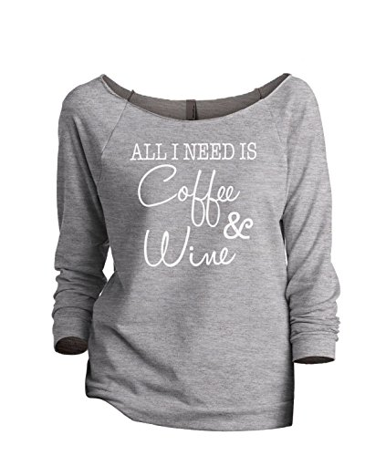 Thread Tank Coffee and Wine Women's Fashion Slouchy 3/4 Sleeves Raglan Sweatshirt Sport Grey Medium