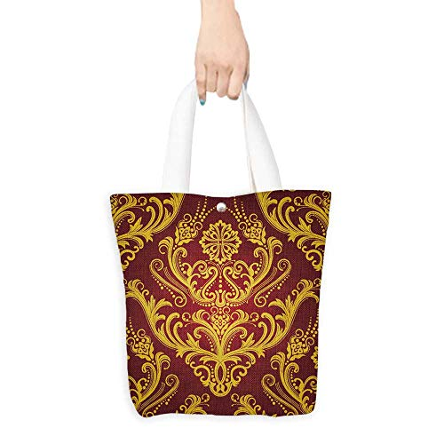 - Printed Shoulder bag Luxury red & gold floral damask wallpaper Comfortable hand feeling W11 x H11 x D3 INCH