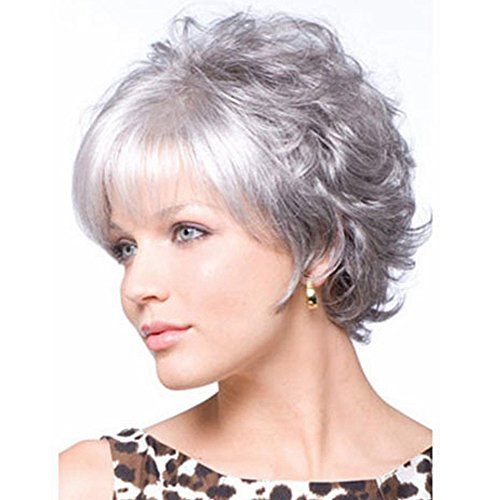 LANDI Short Curly Wigs for White People - Women's Wigs with Bangs Synthetic Heat Resistant Fiber Hair full Wigs for Daily Use (silver) - 105 Matt