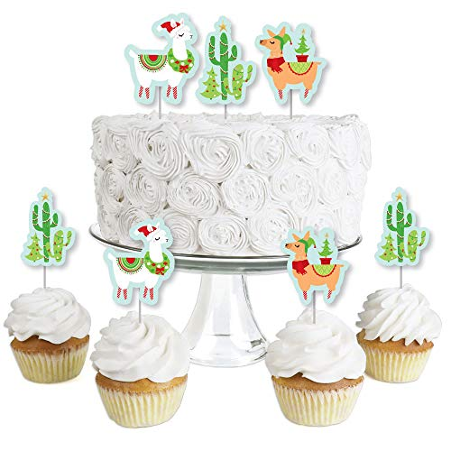 Price comparison product image Fa La Llama - Dessert Cupcake Toppers - Christmas and Holiday Party Clear Treat Picks - Set of 24