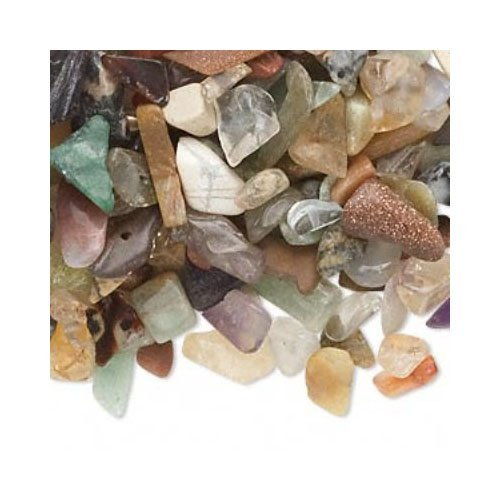 Strand of 50g Mixed Multi Gemstone 3-10mm Undrilled Embellishment Chips - (YF0135) - Charming Beads
