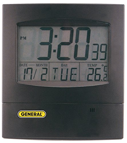 General Tools DJC381 Jumbo Display Digital Wall Clock with Time, Day, Date and Temperature, Black