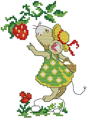 eGoodn Cross Stitch Stamped Kit with Printed Pattern Mice and Strawberry, 11CT Aida Fabric 8x10 Inch, Embroidery Cross-Stitching Needlework for Kids Adults, No Frame
