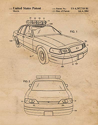(Original Police Car Patent Poster Print- Set of 1 (One 11x14) Unframed Picture- Great Wall Art Decor Gifts Under $15 for Home, Office, Garage, Man Cave, Teacher, Law Enforcement Officer-Family-Fan)