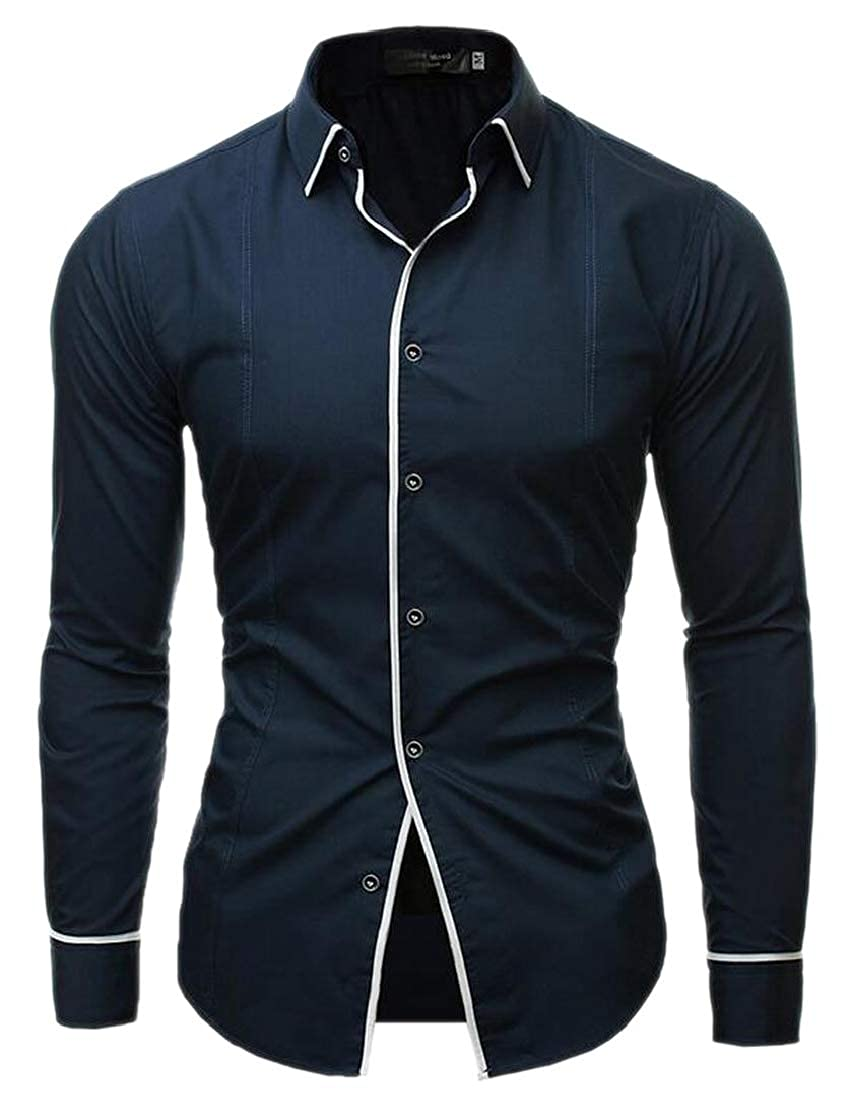 M/&S/&W Mens Long-Sleeves Lapel Classic Solid Color Loose Fit Button Down Button Front Shirt