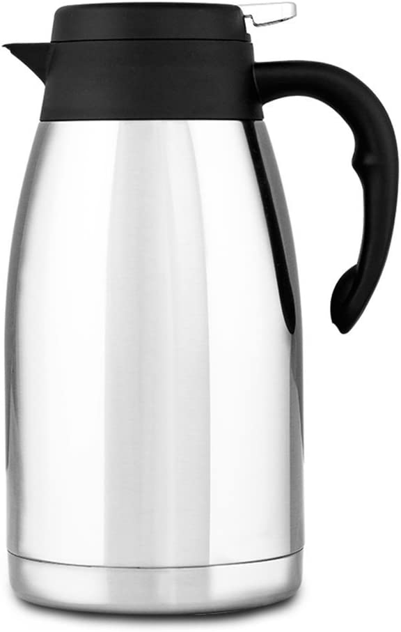 304 Stainless Steel Double Walled Vacuum Insulated Carafe mit Press Button Top, Quality Thermal Carafe, Water Pitcher mit Lid, Coffee Pots, Serving Pitchers Coffee Thermos, 2-Liter,Silver