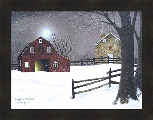 e by Billy Jacobs 22x28 Red Barn Full Moon Stone House Snow Snowing Winter Christmas Framed Folk Art Print Picture ()