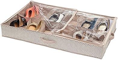 Taupe//Natural Chevron InterDesign Axis Non-Woven Fabric Under Bed Storage Box Organizer