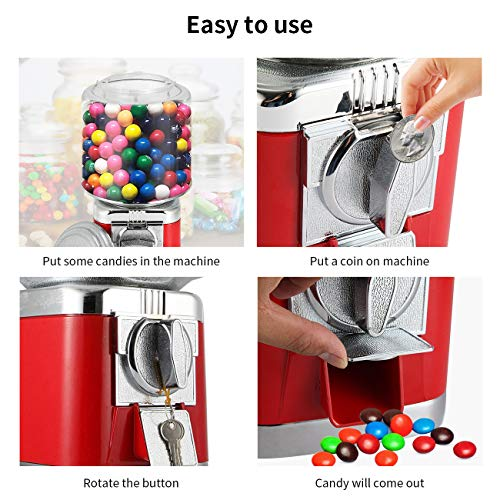 Gumball Machine Metal Gumball Candy Vending Machine Removable Canisters Capsule Bouncy Ball Gumball Vending Dispenser Machine by Dyna-Living (Image #3)