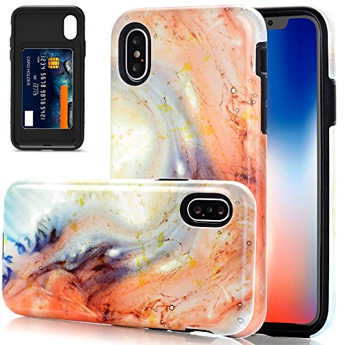 iPhone X Case, iPhone X Opal Marble Case, BAISRKE Heavy Duty Protection Card Slot Cover Hybrid Hard PC Flexible TPU Anti Slip Shockproof Protective Phone Case for iPhone X - Colored Stone - Colored Marble