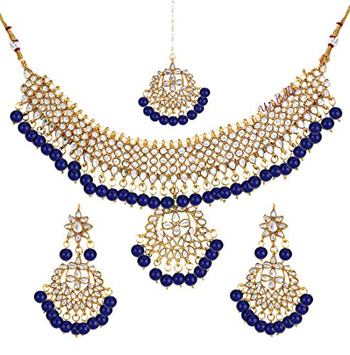 YouBella Jewellery Bollywood Ethnic Bridal Wedding Traditional Choker Indian Necklace Set with Earrings for Women (Blue)
