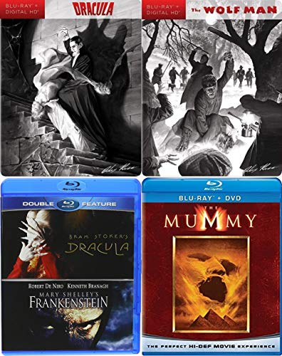 Monsters Old & New Blu-ray 5-Movie Collection - The Mummy (1999), Bram Stoker's Dracula (1992) Mary Shelly's Frankenstein (1994), Dracula (1931) and Wolf Man (1941) Exclusive Alex Ross Steelbook]()