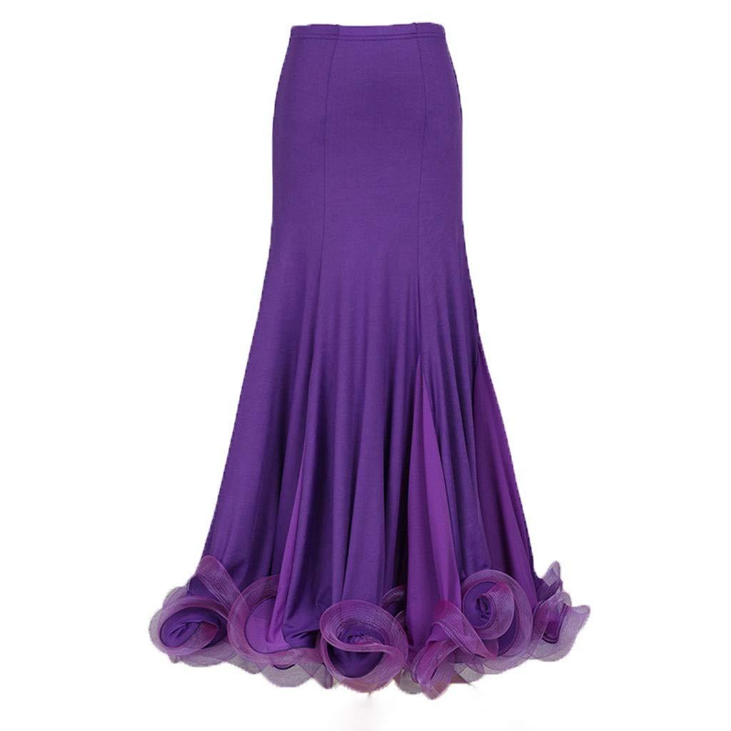 Violet petit KTYXDE Jupe de Danse de Salon Standard Nationale Demi-Longueur Grande Jupe de Danse Moderne Danse Uniforme (Couleur   Violet, Taille   L)