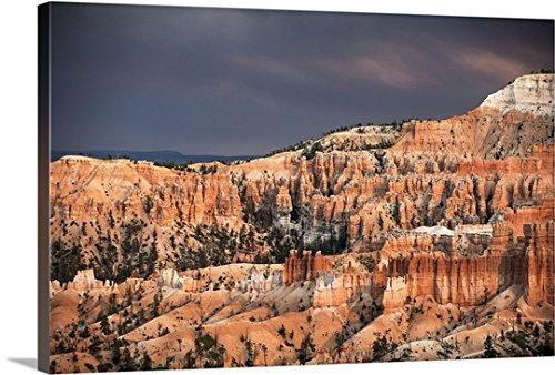 greatBIGcanvas Gallery-Wrapped Canvas entitled Sunlight illuminating the red striped hoodoos in Bryce Canyon Amphitheater, Utah by Circle Capture 30''x20'' by greatBIGcanvas
