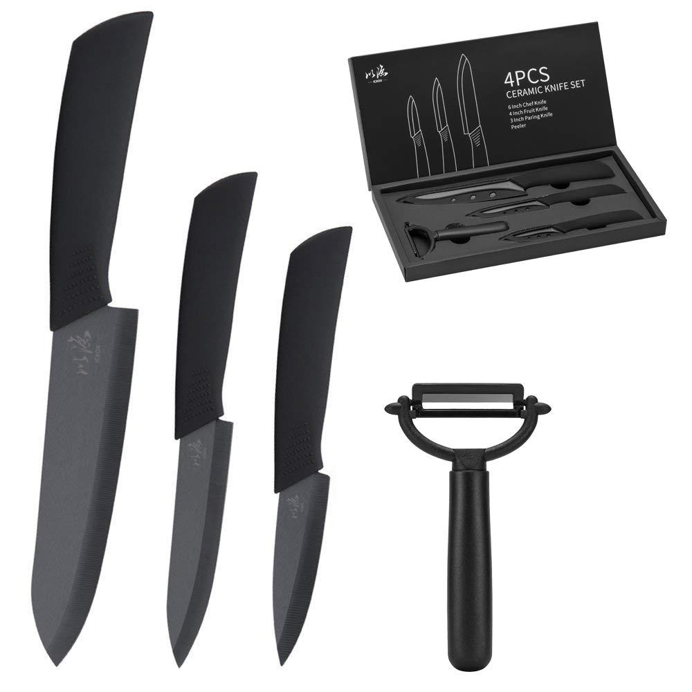 icxox Set de 4 Couteaux en céramique, avec Etui de Protection, Eplucheur Ceramique (Noir)
