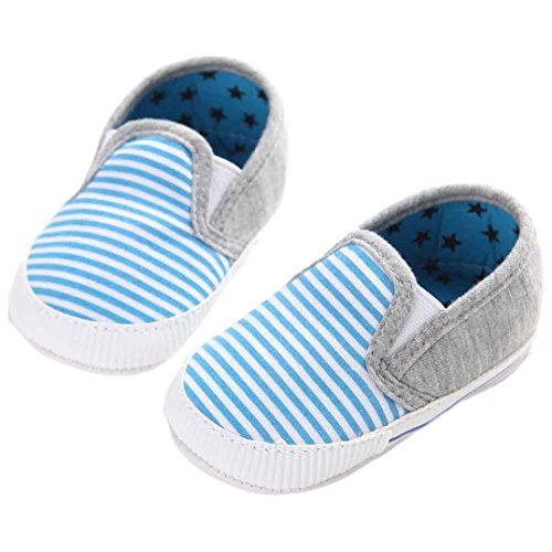 (Voberry Baby Boys Girls Toddlers Striped Sneakers Soft Sole Anti-Slip Outdoor Canvas Shoes (0~6 Month, Blue))