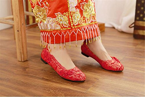 SUNNY Wedding Flat Flat Store for Shoes Red Bride Shoes Shoes 11wxavr5Rq